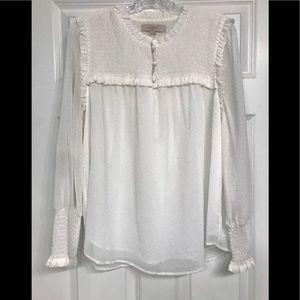 Loft Swiss dot smocked blouse